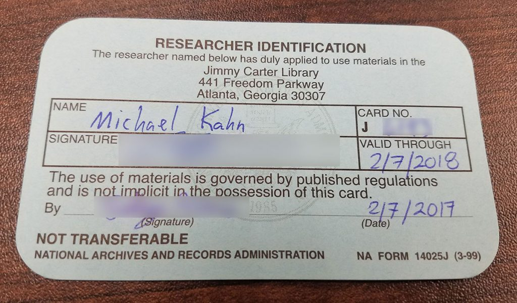mk library jimmy carter library researcher card