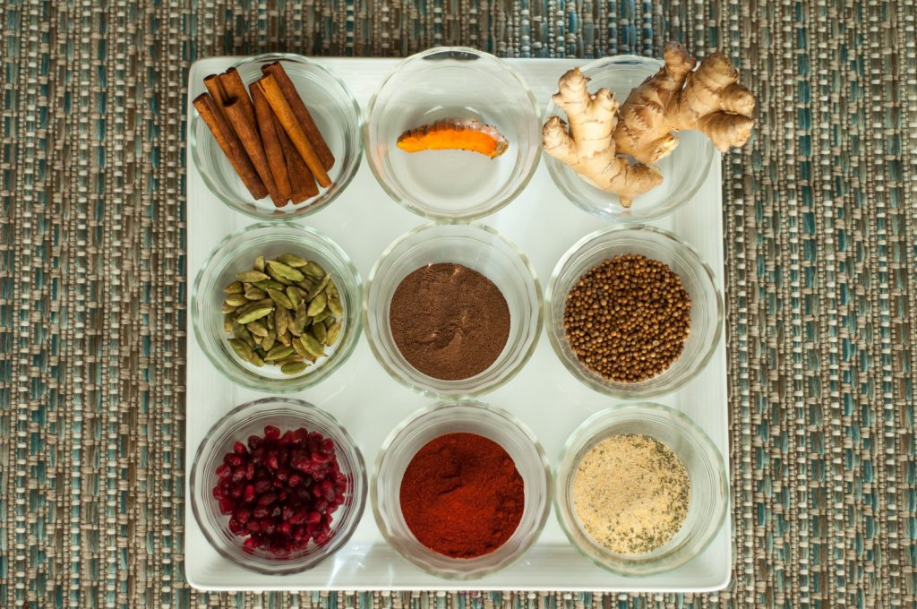 Moroccan chicken tagine spices in bowls