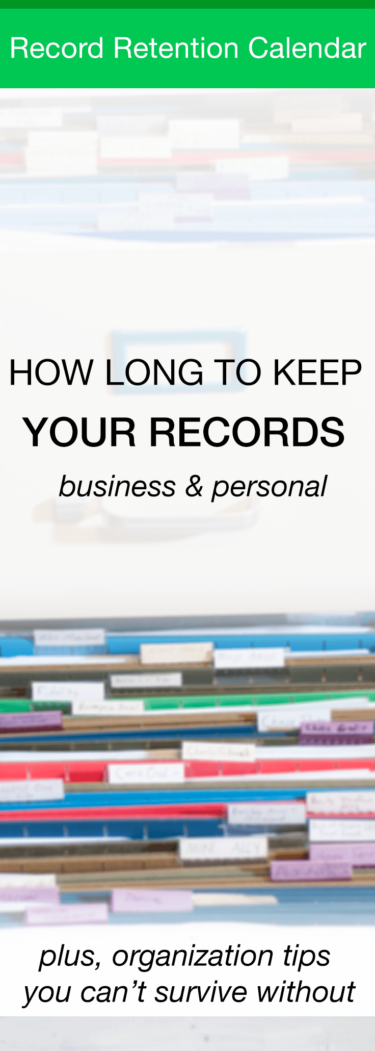 How Long To Keep Records - Personal and Business 1 This record retention schedule will guide you how long to keep records for all manners of receipts and paperwork. The schedule is organized by length of time to keep records or by the type of documents.