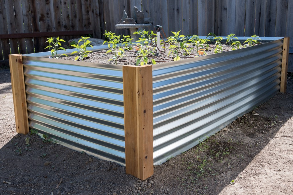DIY Corrugated Metal Raised Beds featured