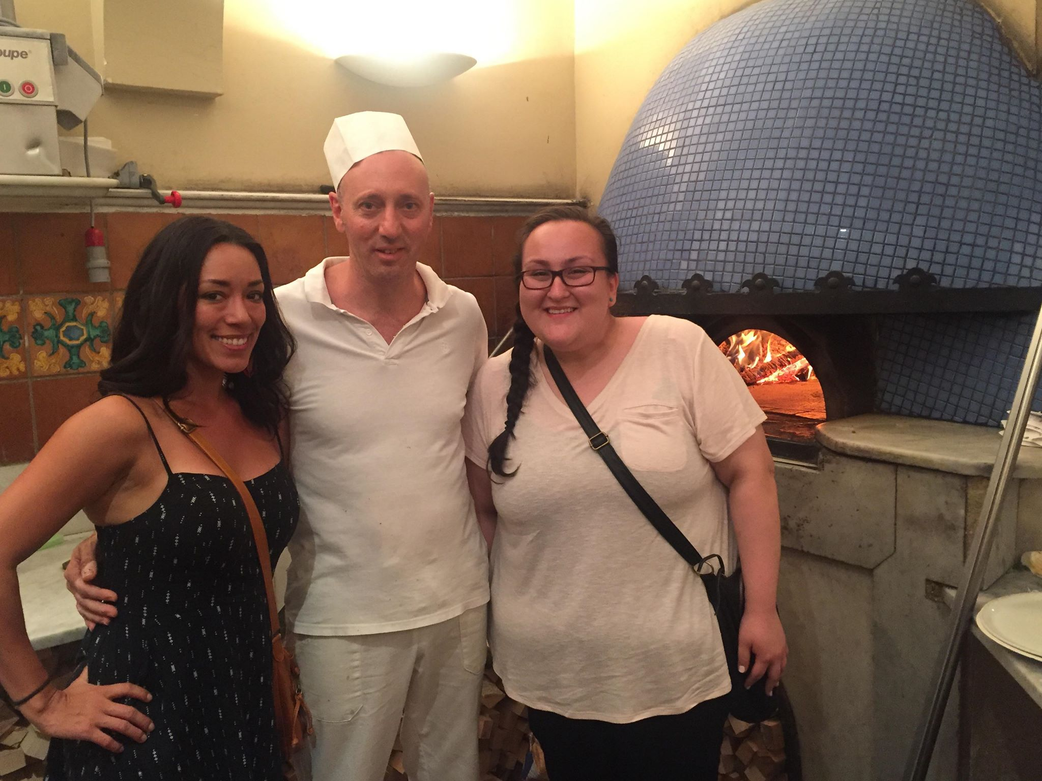 Crystal and Bridgette with one of the pizzaiolos in Rome.