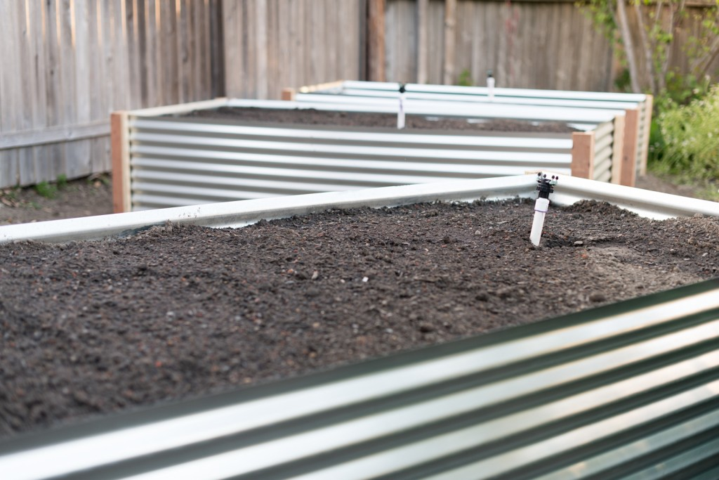 corrugated metal raised beds all three
