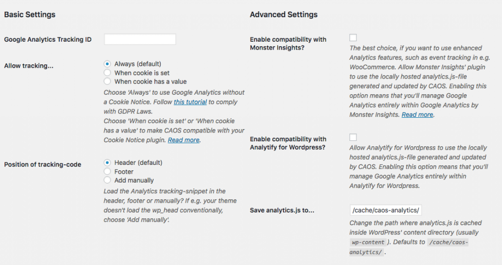 CAOS Host Google Analytics Locally