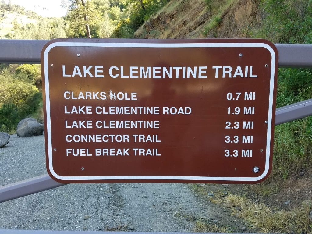 Lake Clementine Hike Trail Sign