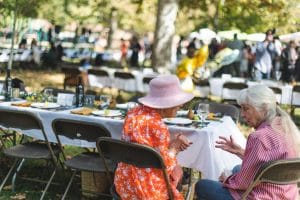 Platespotting at The Village Feast 13 The Village Feast is a low-waste event, put on in Davis, California, by Davis Farm to School. The nonprofit benefits Les Dames D'Escoffier, Sacramento, and