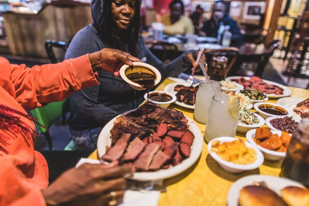 Oakland Food Scene Everett and Jones Barbeque making friends