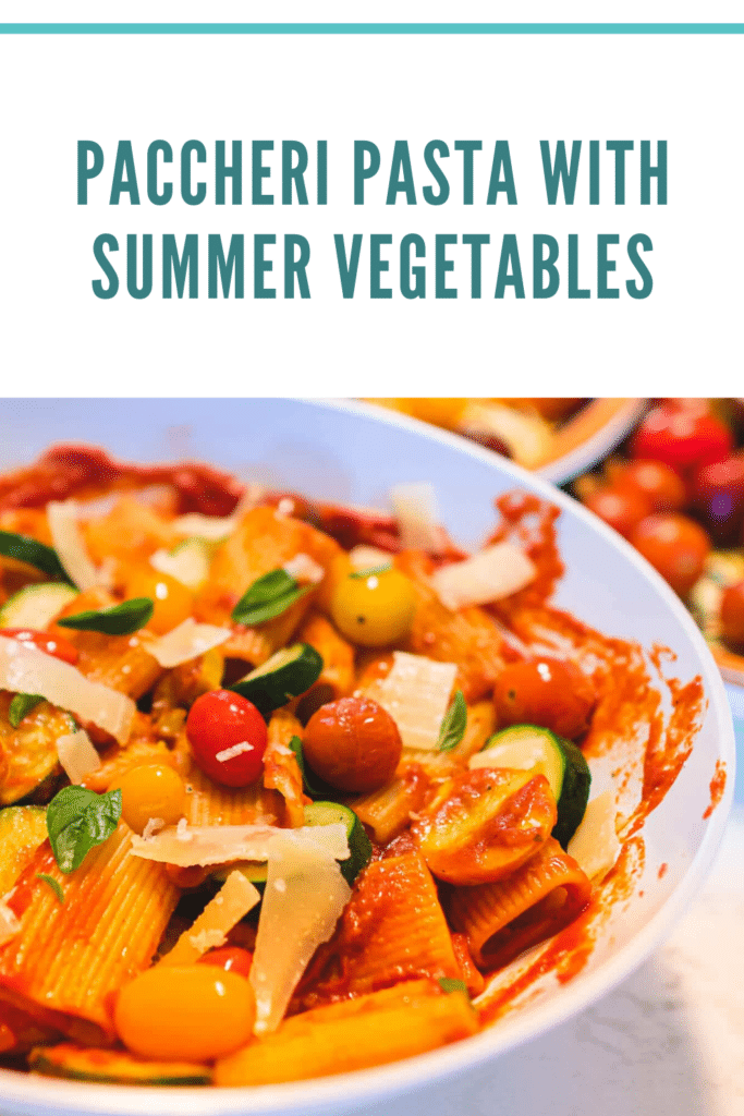 Paccheri Pasta with Summer Vegetables Pinterest
