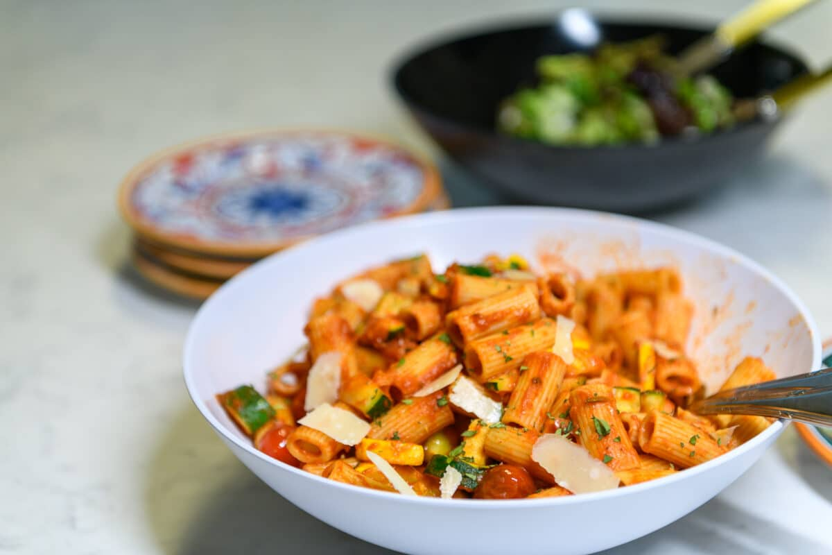 Paccheri pasta with summer vegetables