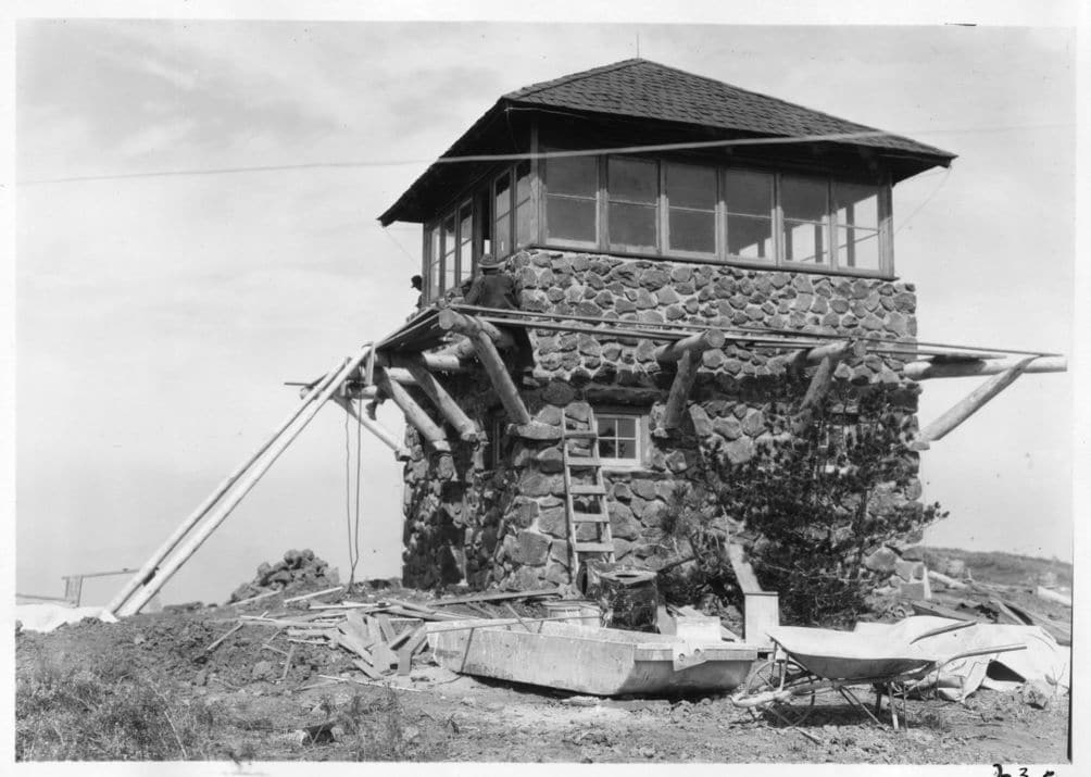 The rustic fire lookout on Mount Harkness has been active since the 1930s.