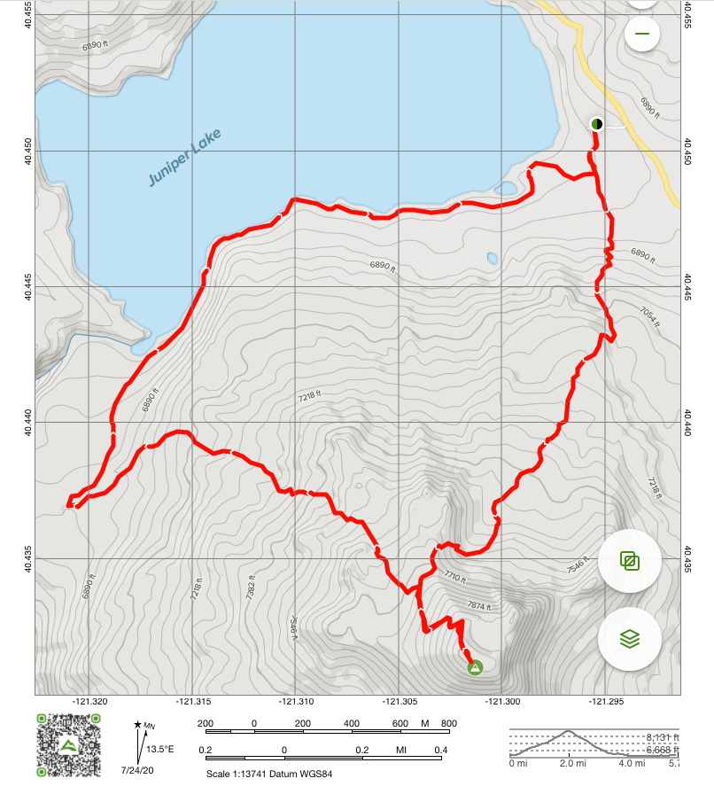 Map of Mount Harkness Loop Trail in Lassen National Park.