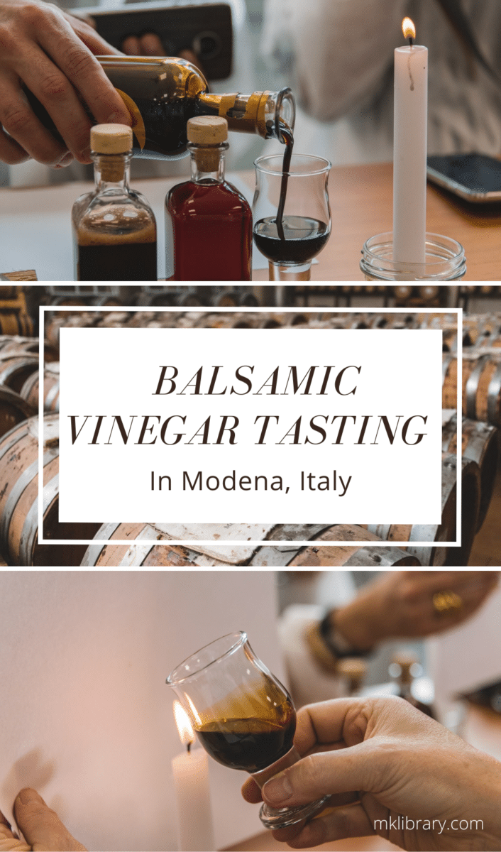 Tasting balsamic vinegar in Modena, Italy pin