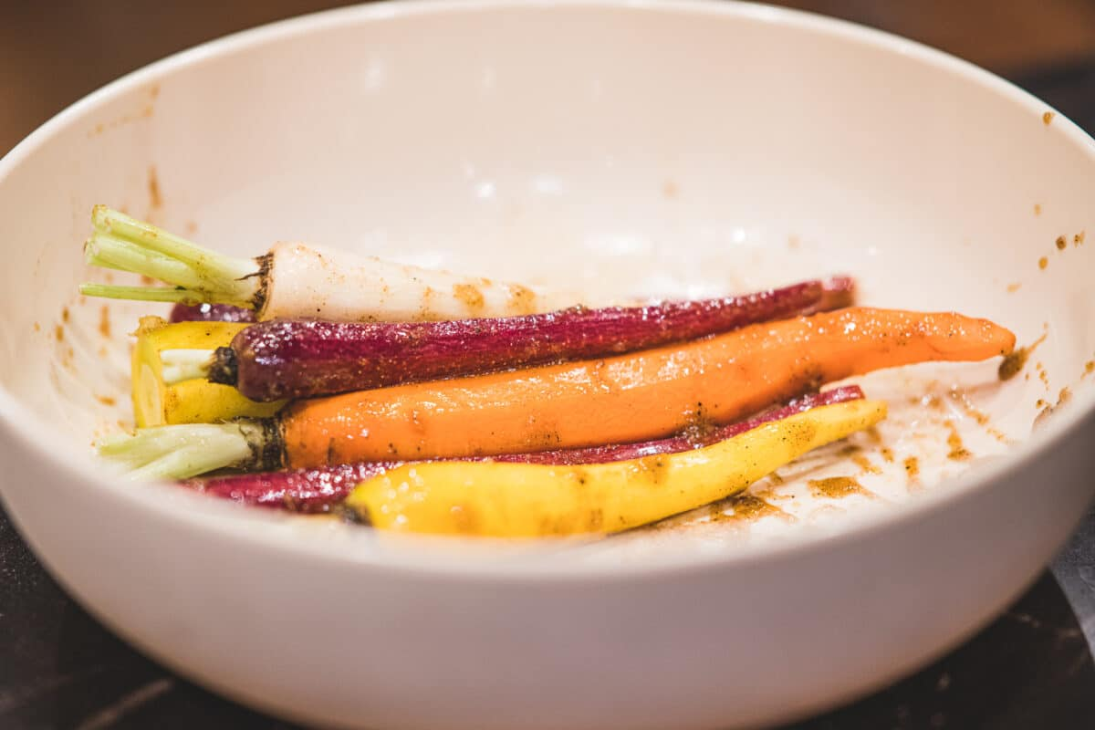 Roasted moroccan carrots coated in spices