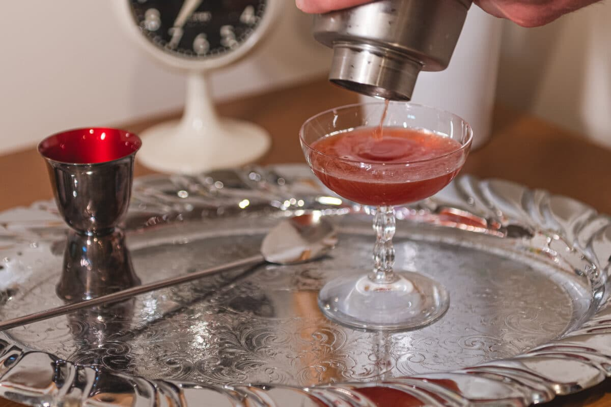 Making blood and sand cocktail