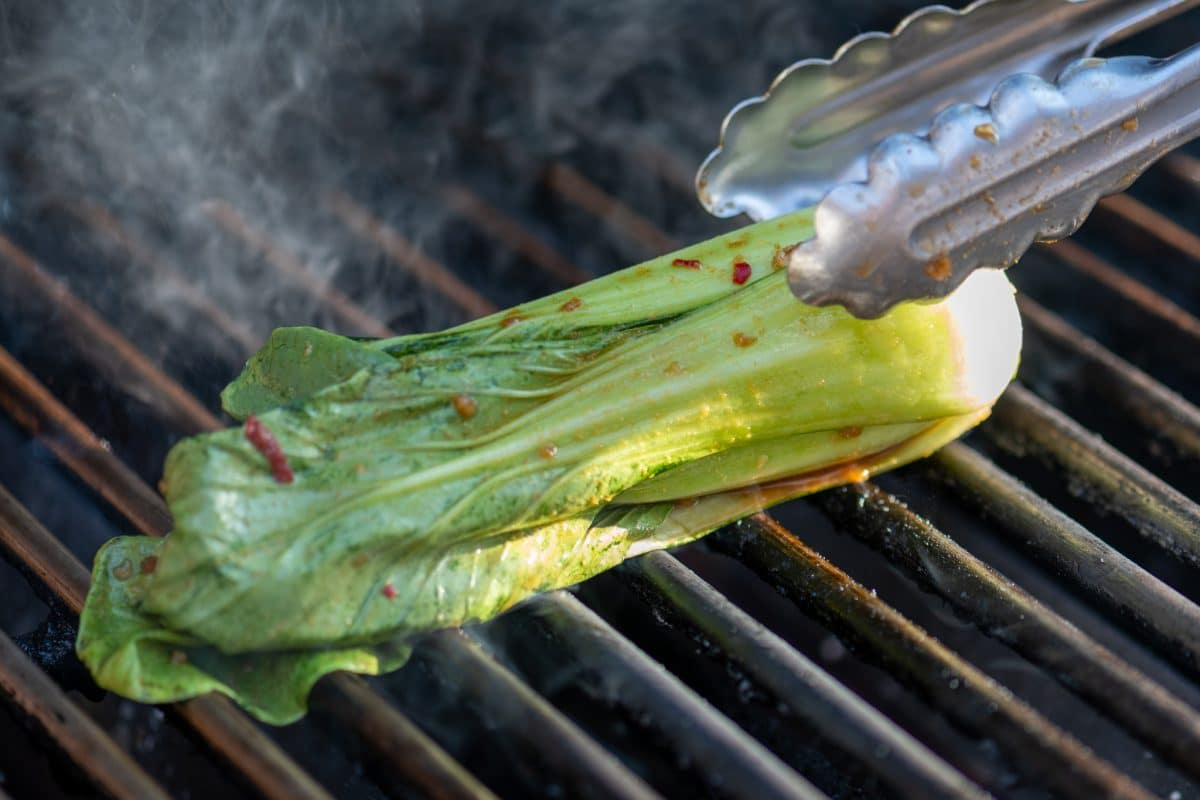 Place bok choy on grill