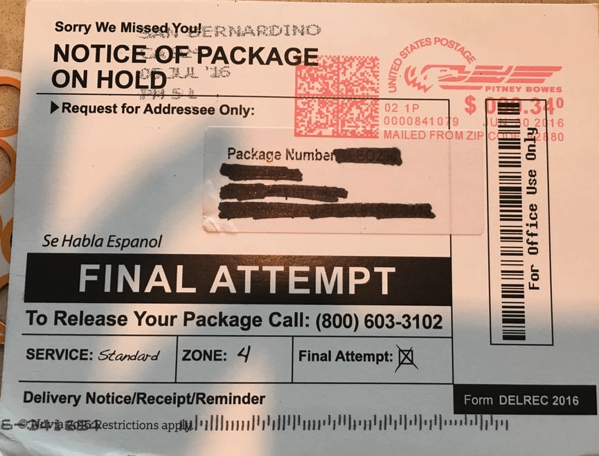 Notice of parcel on hold scam 1 after receiving an official looking postcard in the mail which read notice of parcel and a sense of urgency, my spidey senses went on full alert. Normally, notices from the post office or ups or fedex are placed in a different location - this one went in with the rest of my mail, and was postmarked from 3 days ago. Most likely a scam, but i wanted to learn more, hopefully to help prevent others from falling victim.