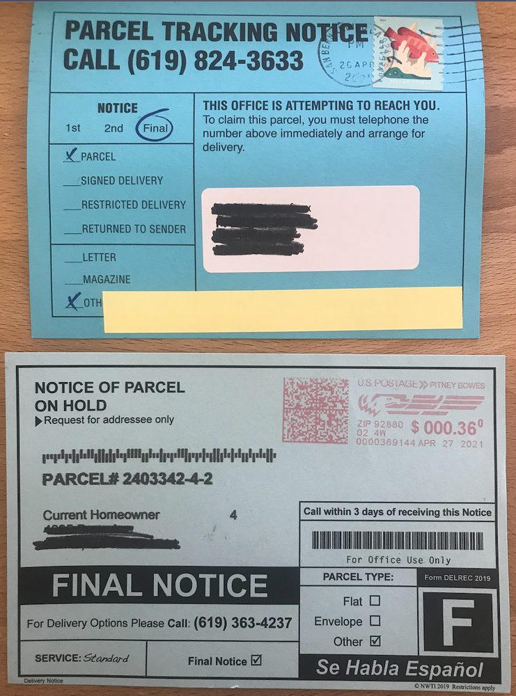 Notice of parcel on hold 619-824-3633