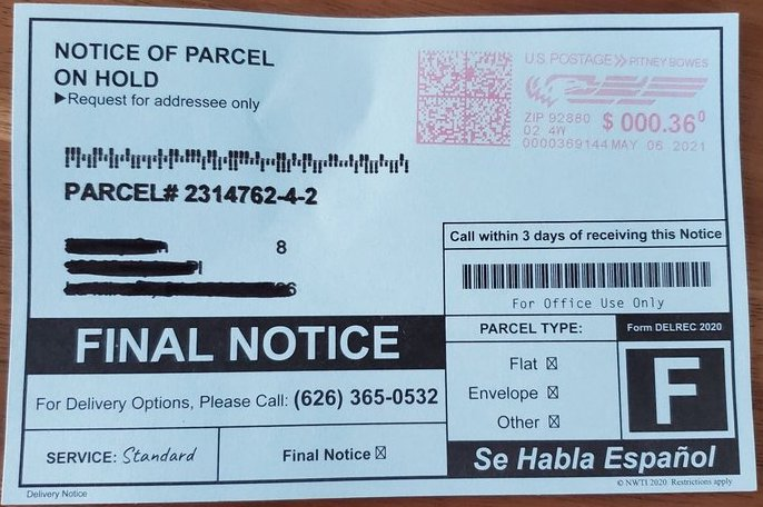 Notice of parcel on hold 626-365-0532
