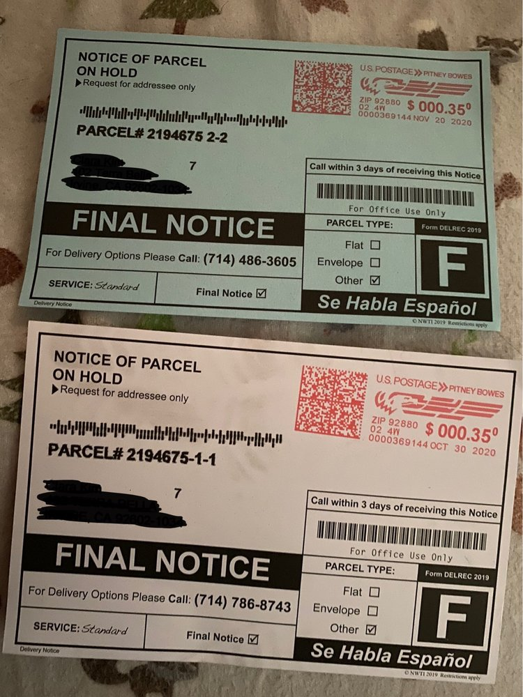 Notice of parcel on hold 714-486-3605