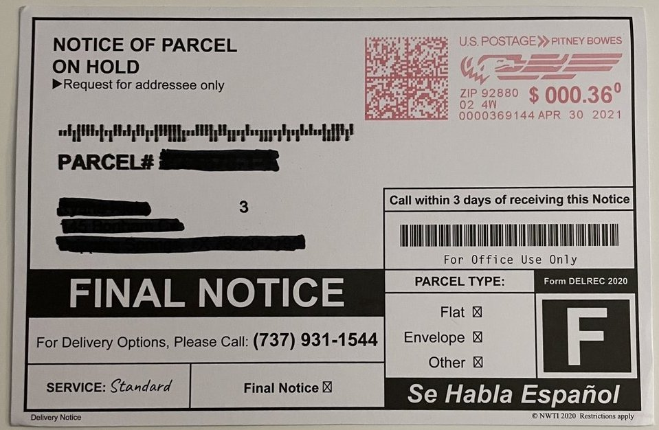 Notice of parcel on hold 737-931-1544
