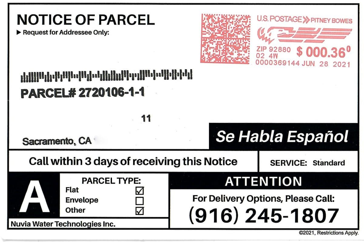 Notice of parcel on hold scam featured