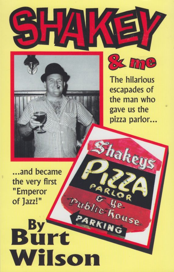 """Shakey & me [paperback] [signed] 1 sherwood (shakey) johnson founded the successful chain of shakey's pizza parlors in 1954 in sacramento, california. He became the pizza king of the us and then gave it all up to """"just have fun""""--which meant promoting dixieland jazz and becoming the first """"emperor of jazz"""" in 1973 at the world's largest traditional jazz jubilee in his hometown of sacramento. Author burt wilson, life-long friend, confidant and advertising agent and pr man for shakey's recalls all the hilarious incidents and funny stories which made shakey a legend in his own time."""