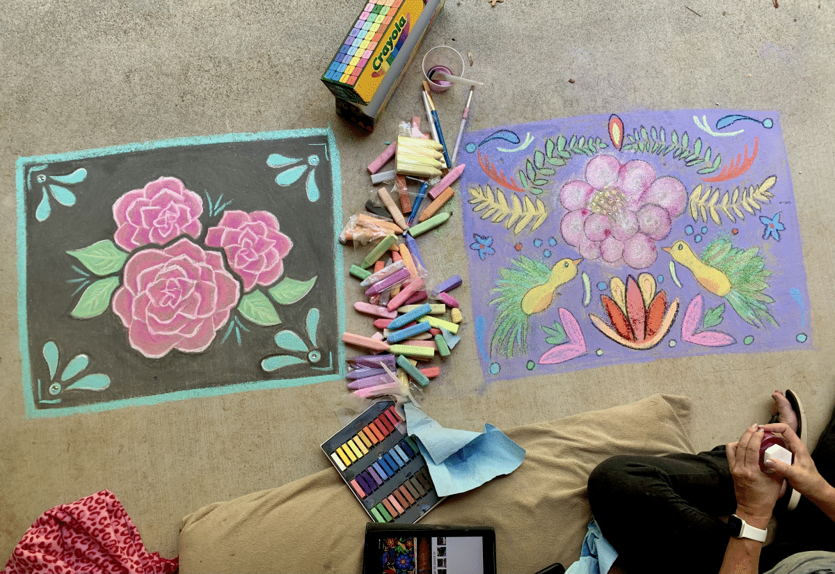 Practicing using chalk at home